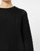 Crew Neck Pointelle Sweater in Black