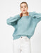 Crew Neck Pointelle Sweater in Mint