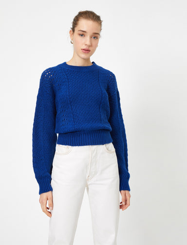 Crew Neck Pointelle Sweater in Blue