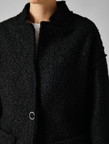 Oversize Bouclette Overcoat in Black