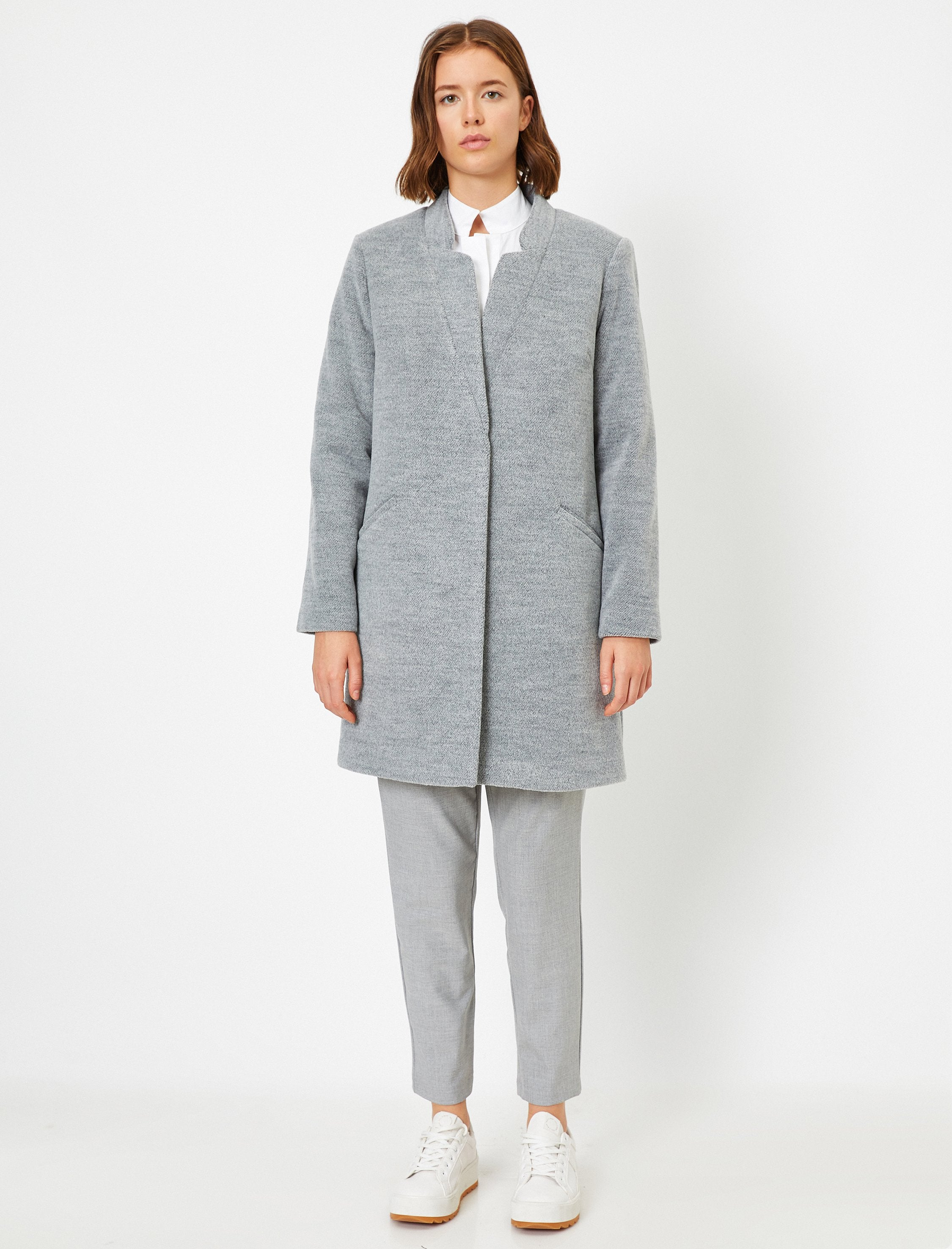 Oversized Soft-Brushed Overcoat in Gray