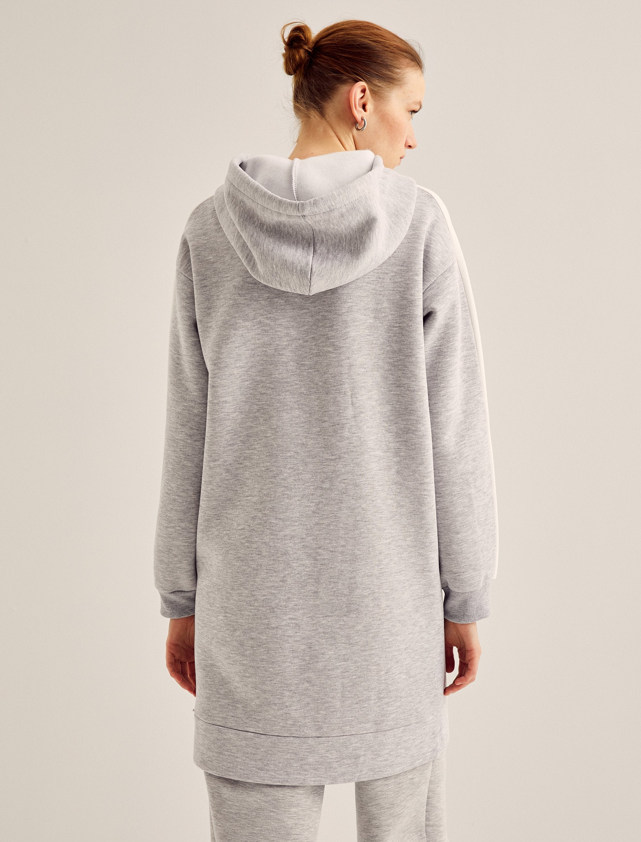 Oversize Tunic Hoodie With Pcokets in Gray