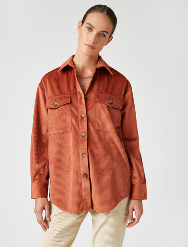 Cord Shirt Jacket in Terracotta