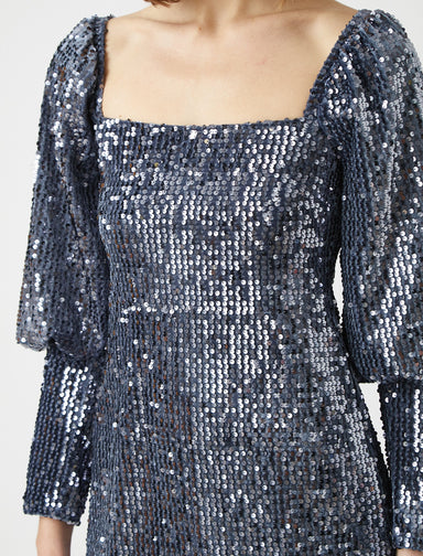 Square Neck Sequin Mini Dress in Silver