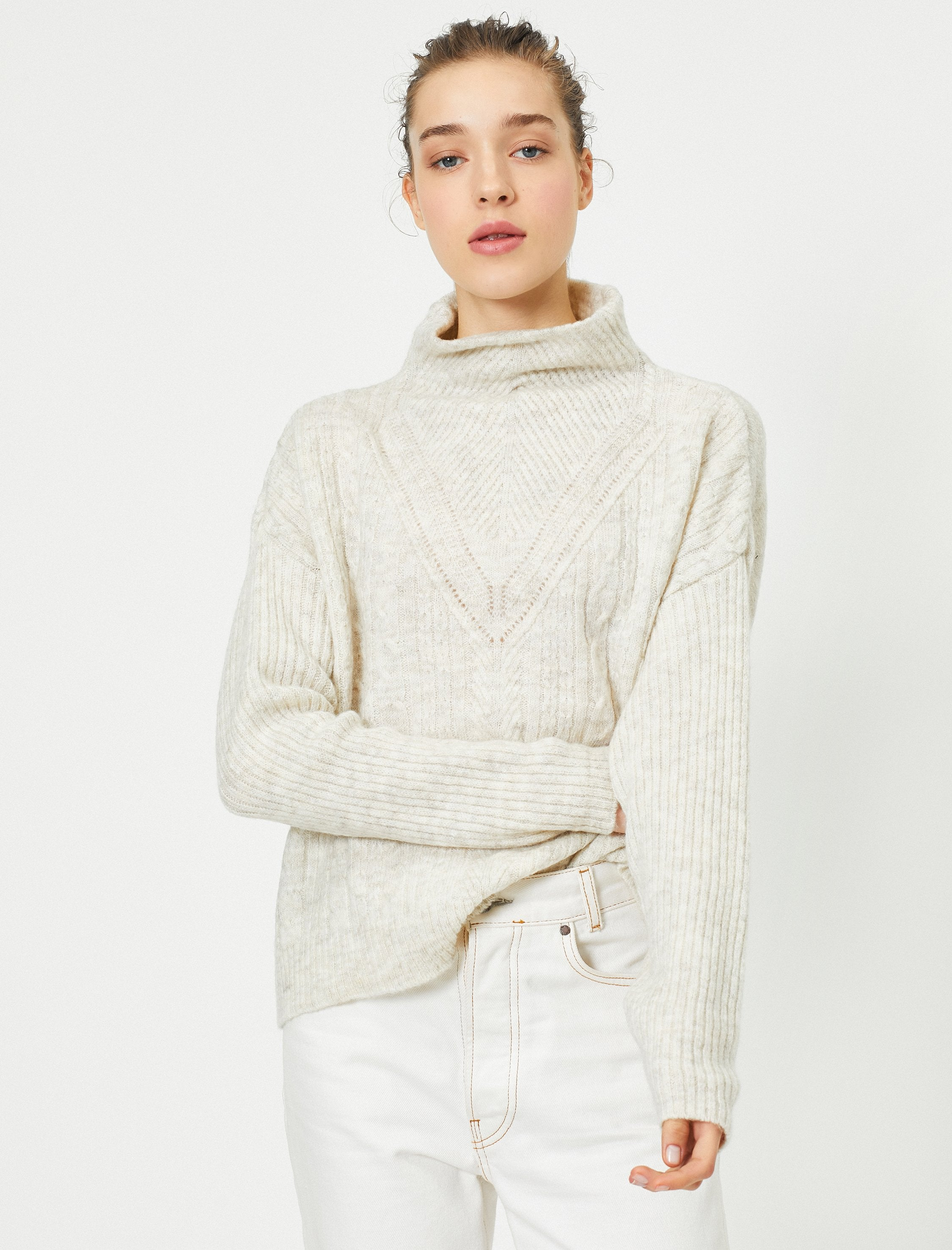 Relaxed Mock Neck Sweater in Cream