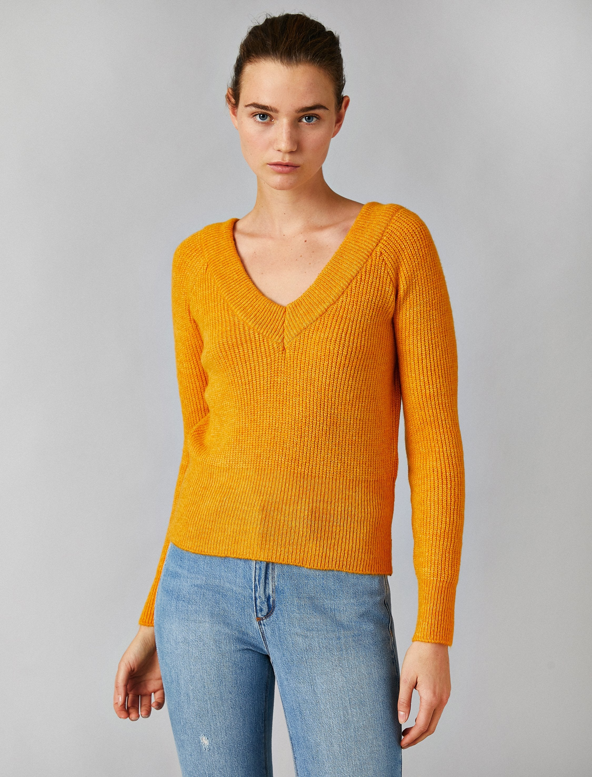 Ribbed V Neck Sweater in Mustard