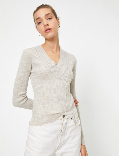 Ribbed Deep V Neck Sweater in Mink