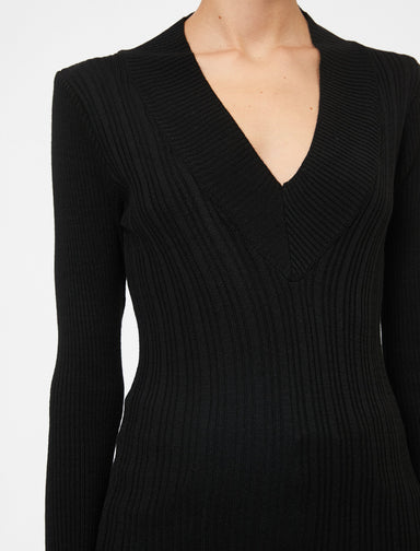 Ribbed Deep V Neck Sweater in Black