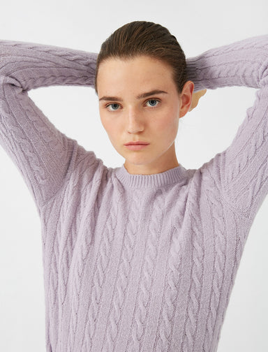 Cable Knit Crew Neck Sweater in Lilac