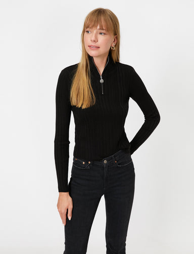 Ribbed Half-Zip Sweater in Black