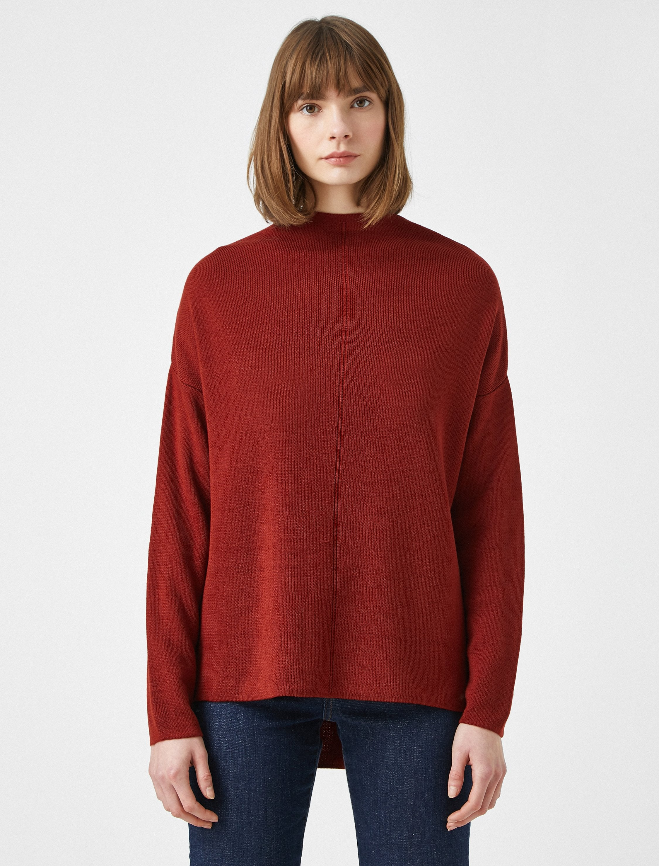 Oversize Mock Neck Sweater in Clay
