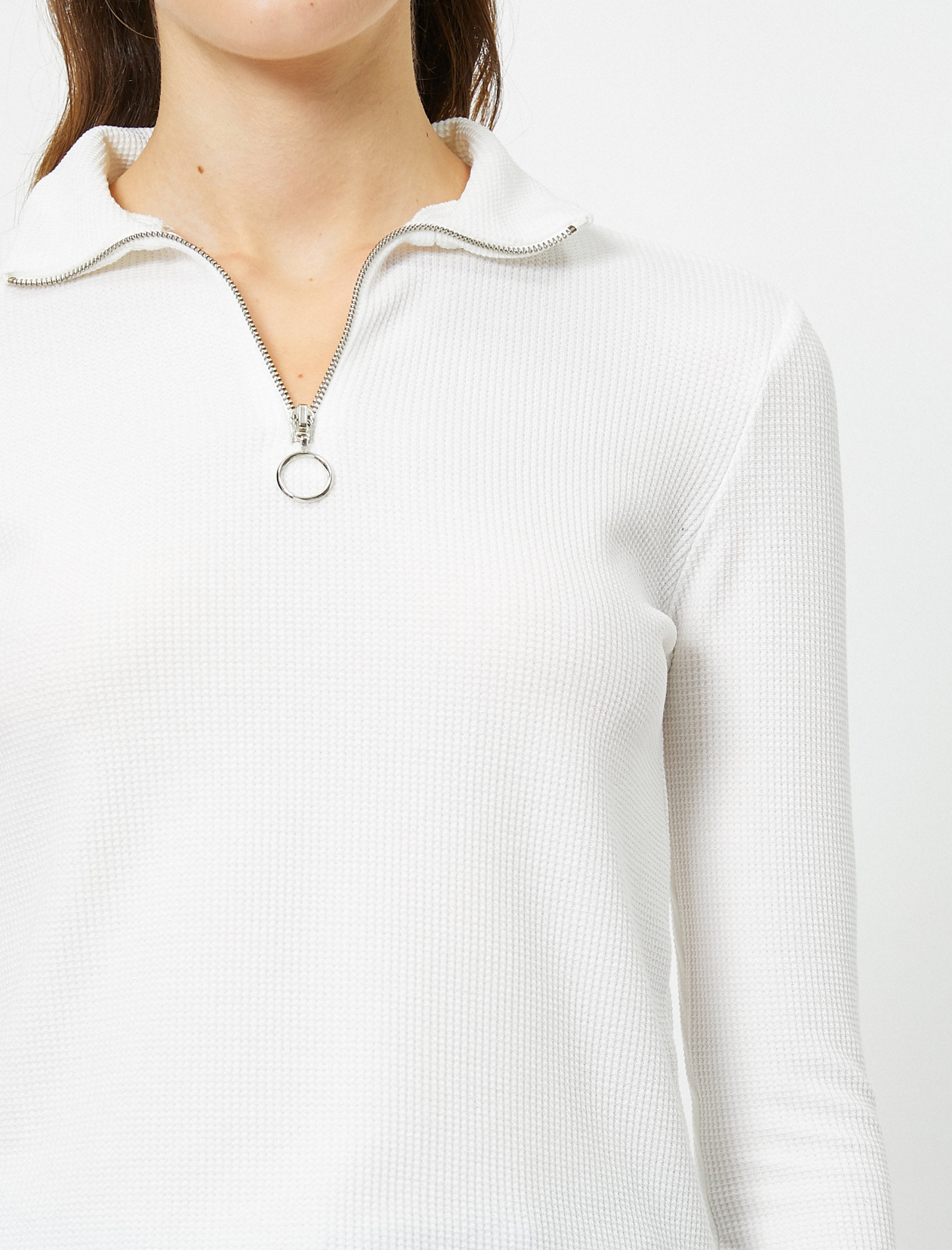 Half Zip Mock Neck Sweatshirt in White
