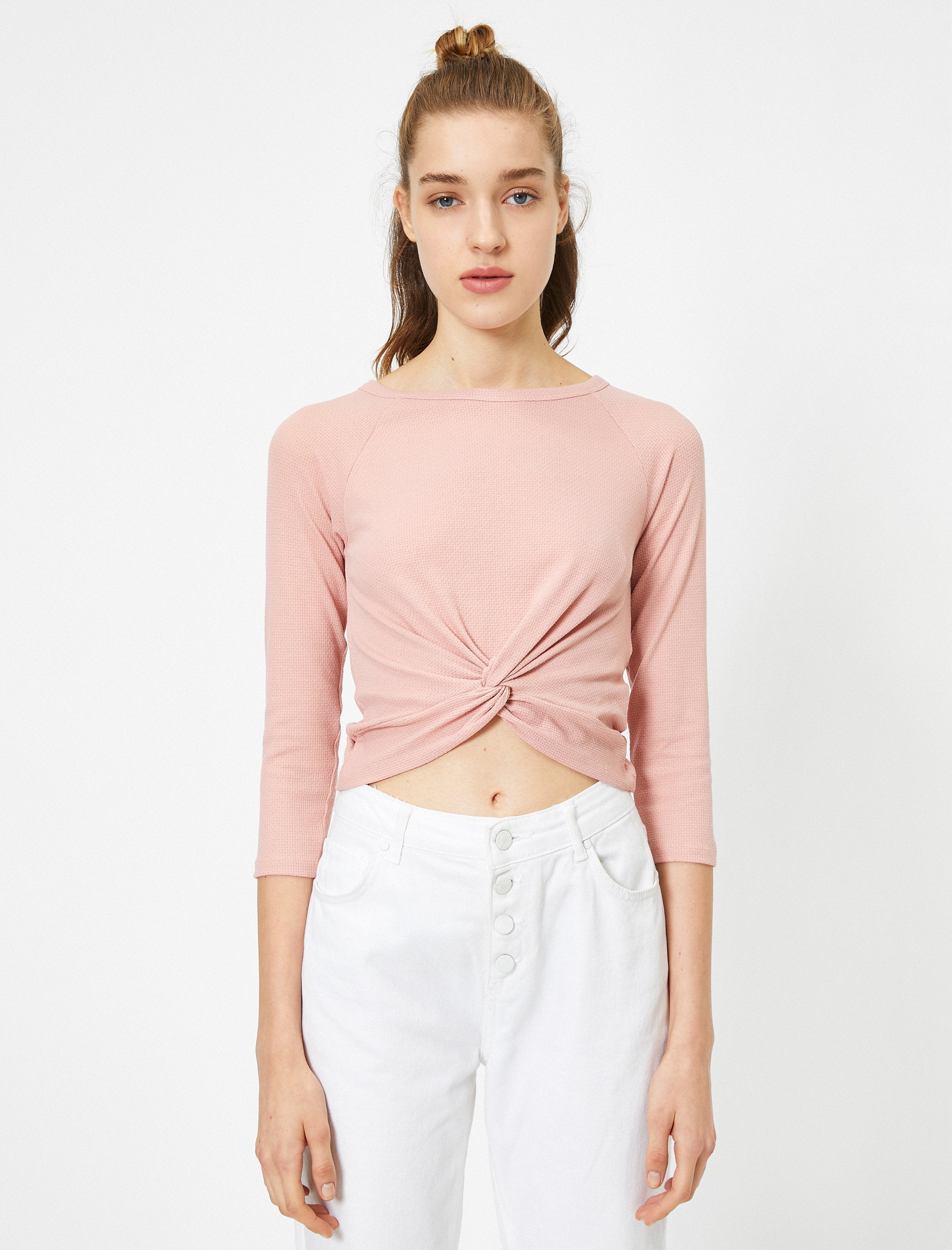 Textured Front Knot Tshirt in Pink