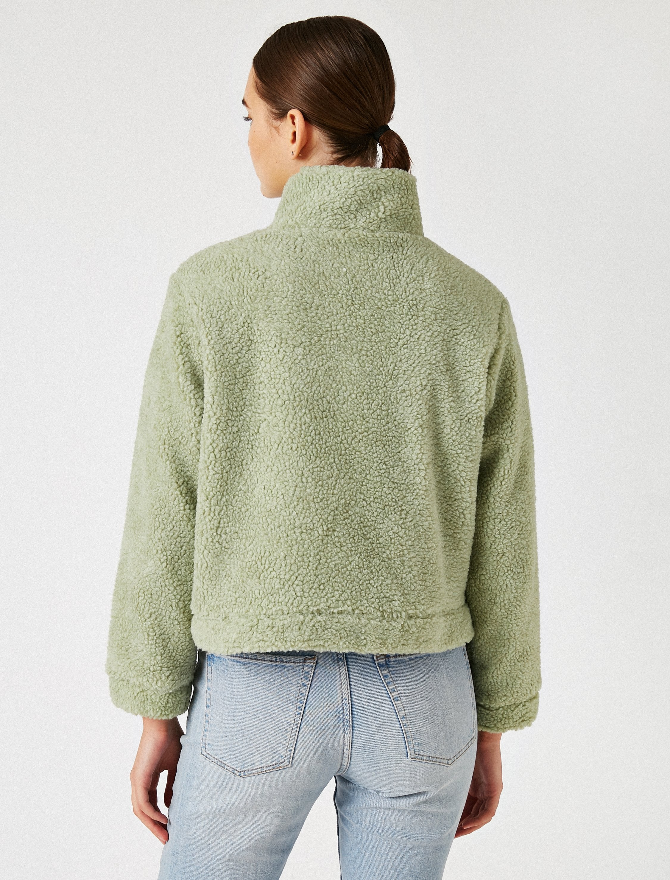 Mock Neck Sherpa Jacket in Teal Green