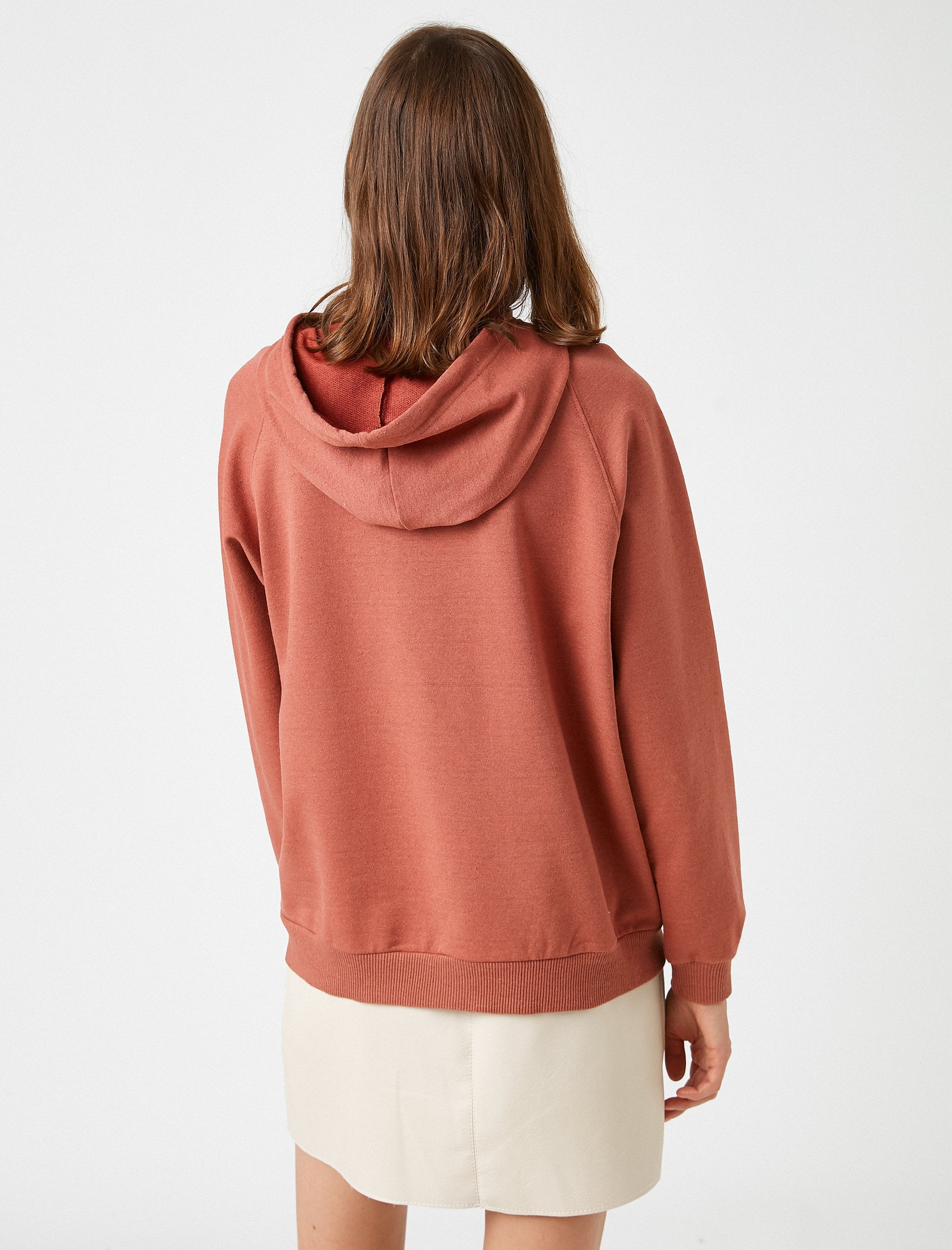Raglan Hoodie With Pockets in Clay