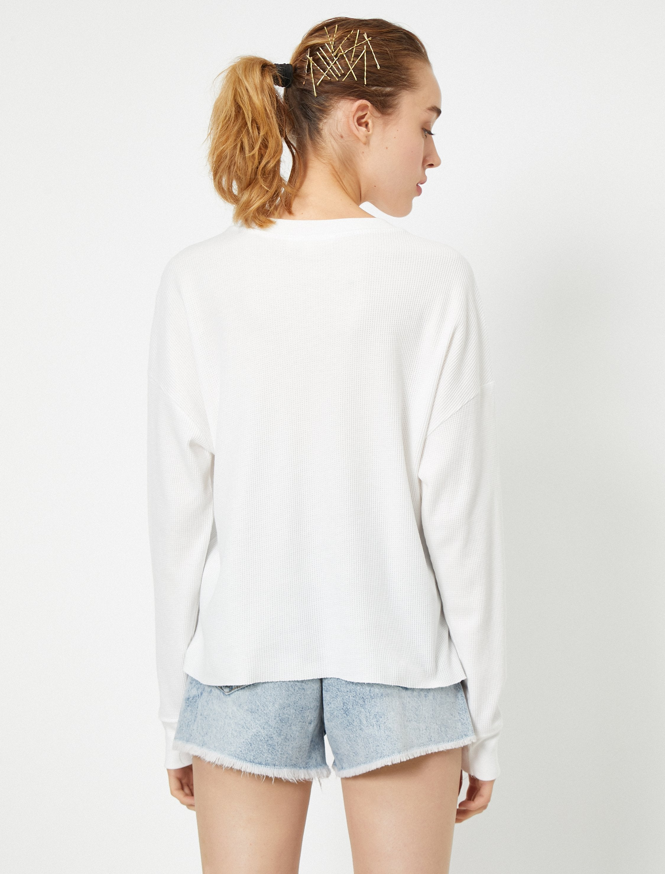 Loose Fit Long Sleeve Tshirt in White