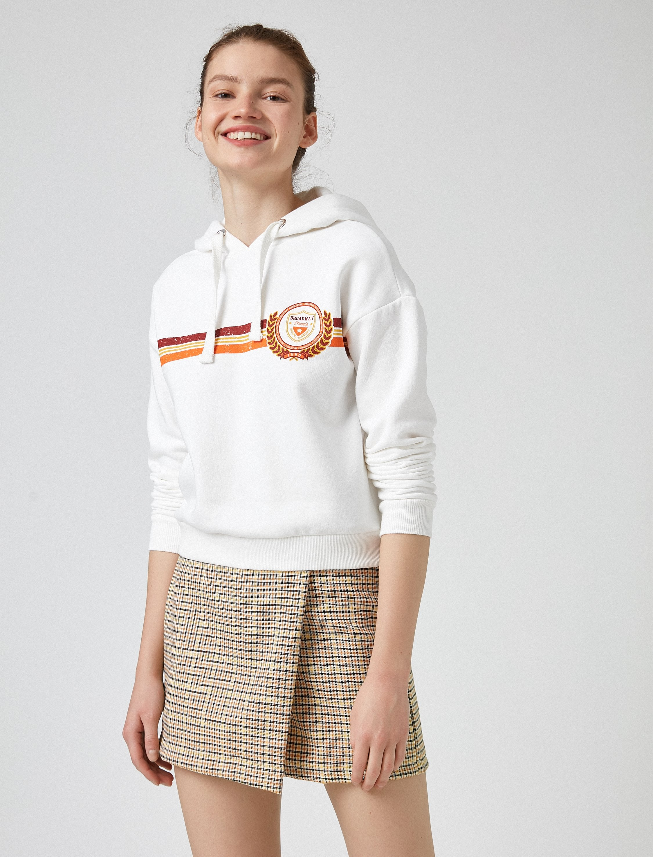 Stripe Graphic Hoodie in Cream