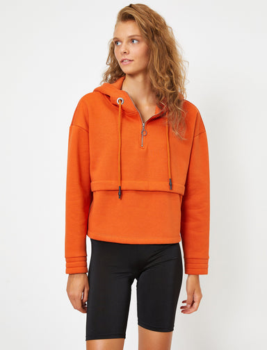 Half Zip Oversize Hoodie in Orange