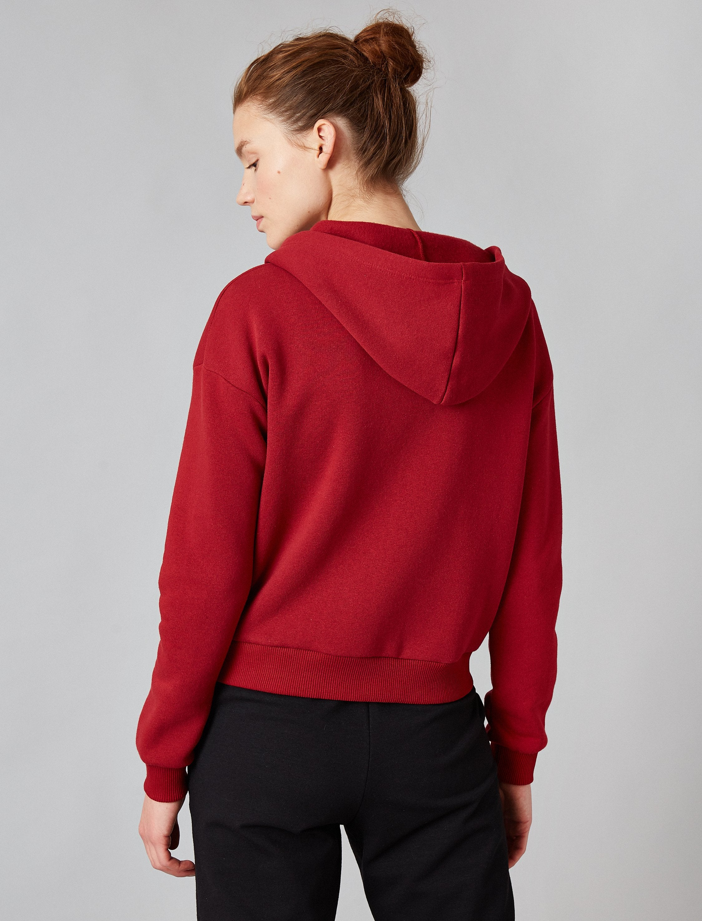 Cropped Zip-Up Hoodie in Merlot