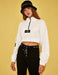 Half Zip Cropped Sweatshirt in White