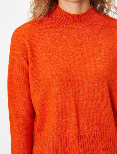Cropped Mock Neck Sweater in Orange
