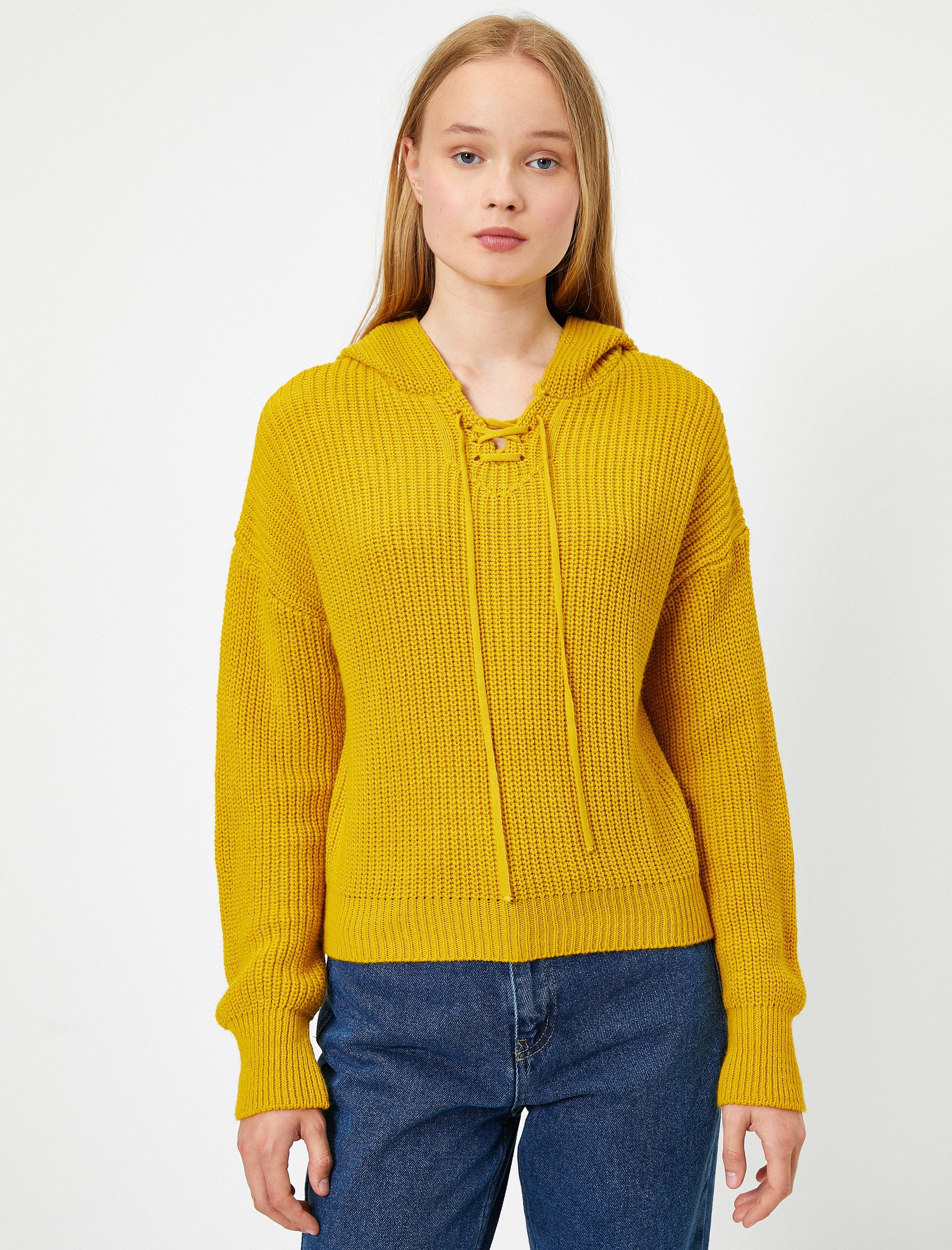 Cropped Hoodie Sweater in Mustard