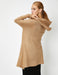 Hooded Open-Front Cardigan in Camel