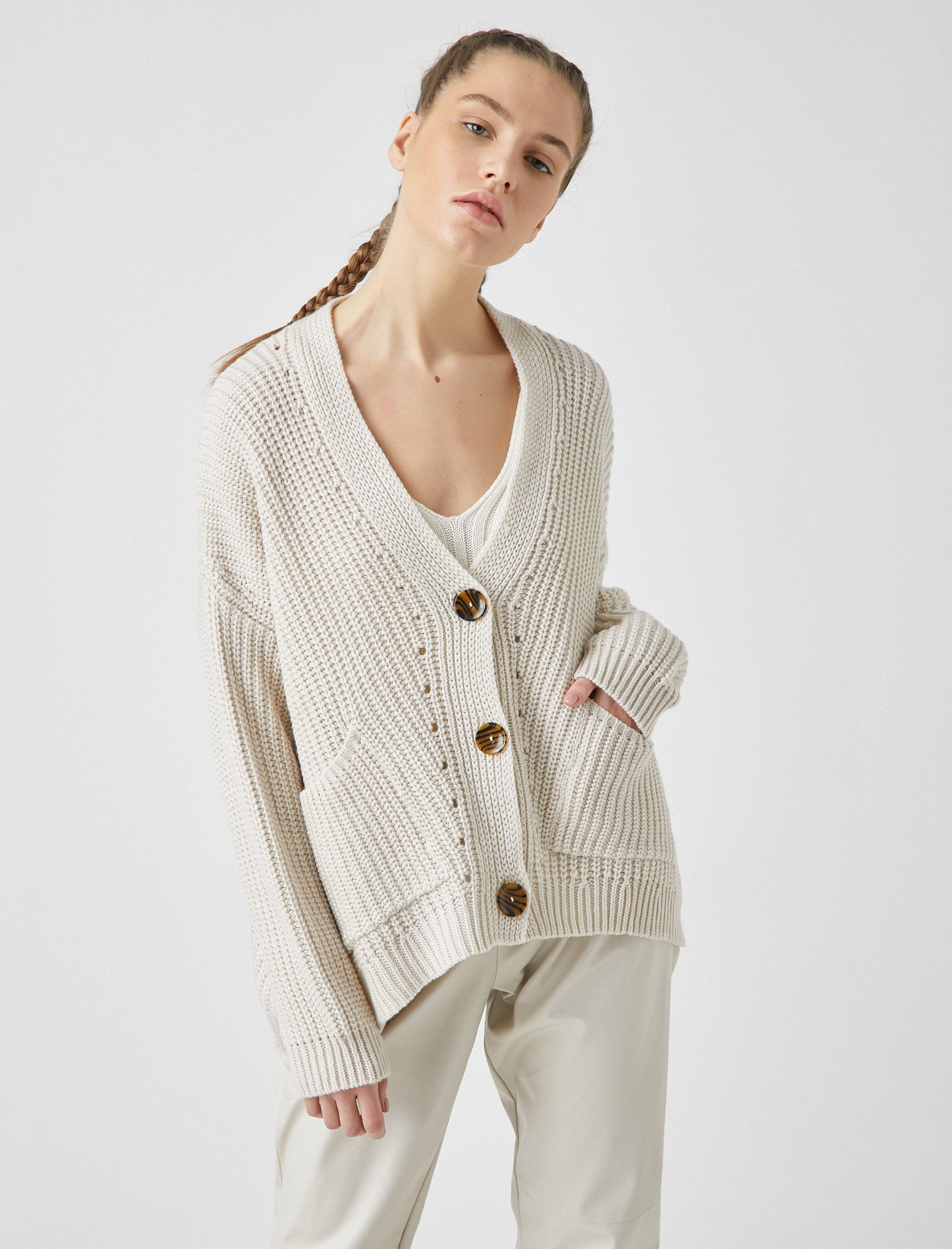 Slouchy V Neck Cardigan in Cream