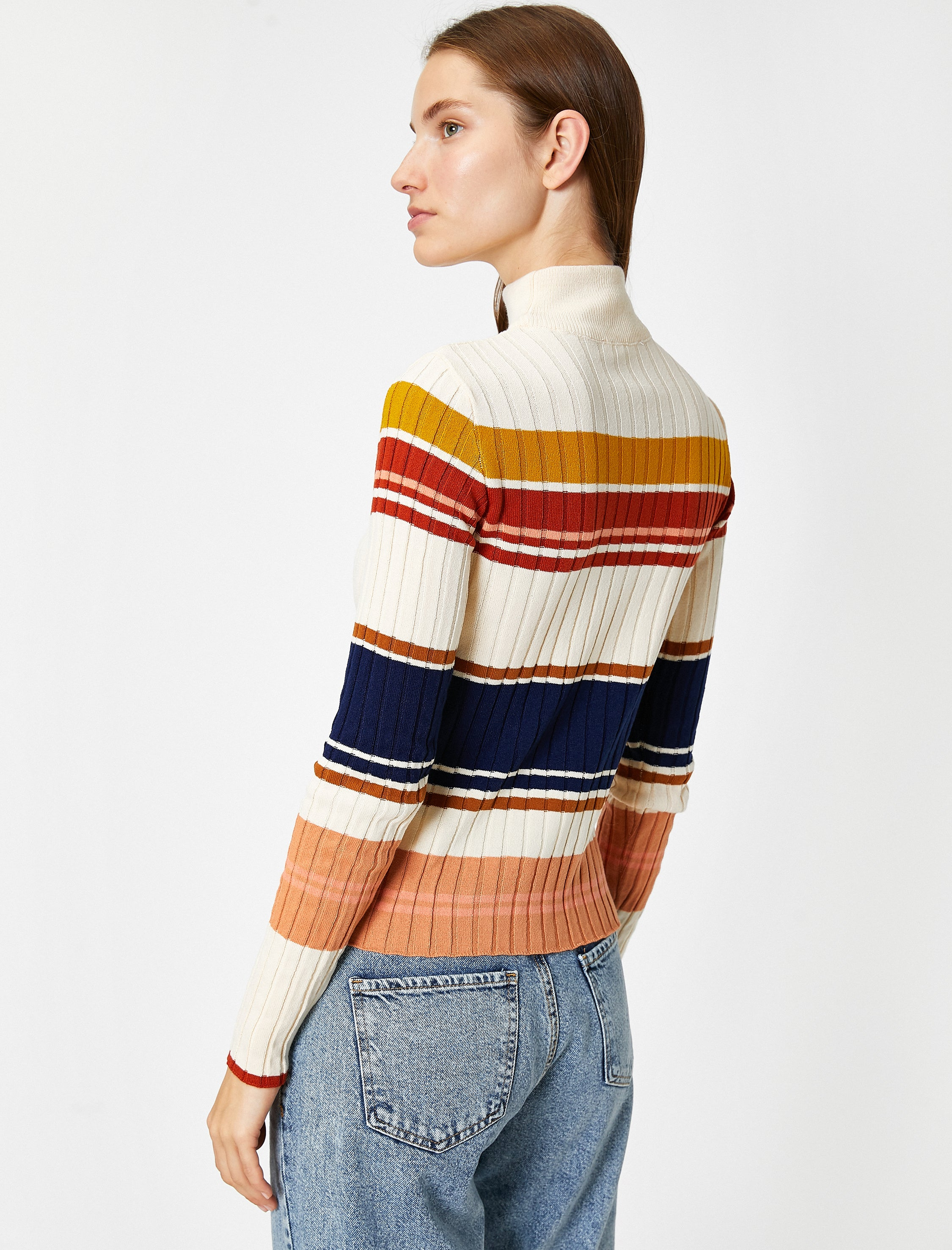 Striped Mock Neck Sweater in Cream