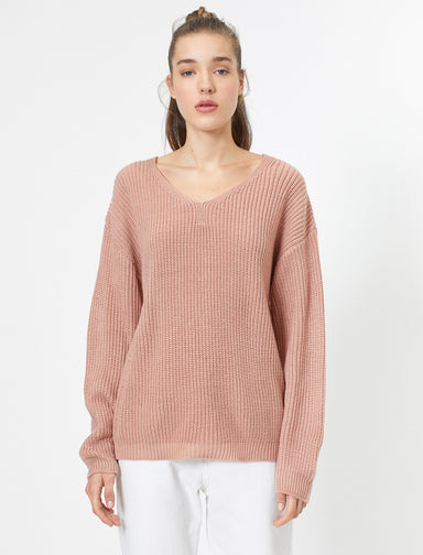 Back V-Neck Dolman Sweater in Pink