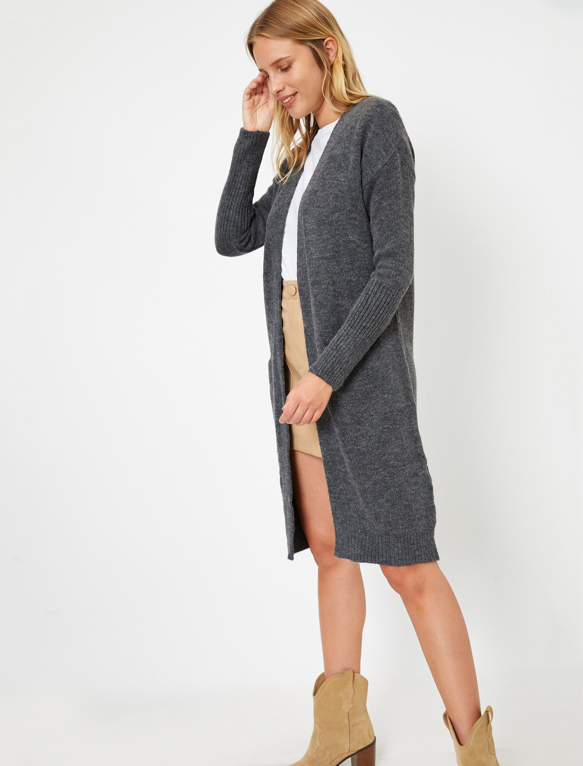 Long Open Front Cardigan in Charcoal