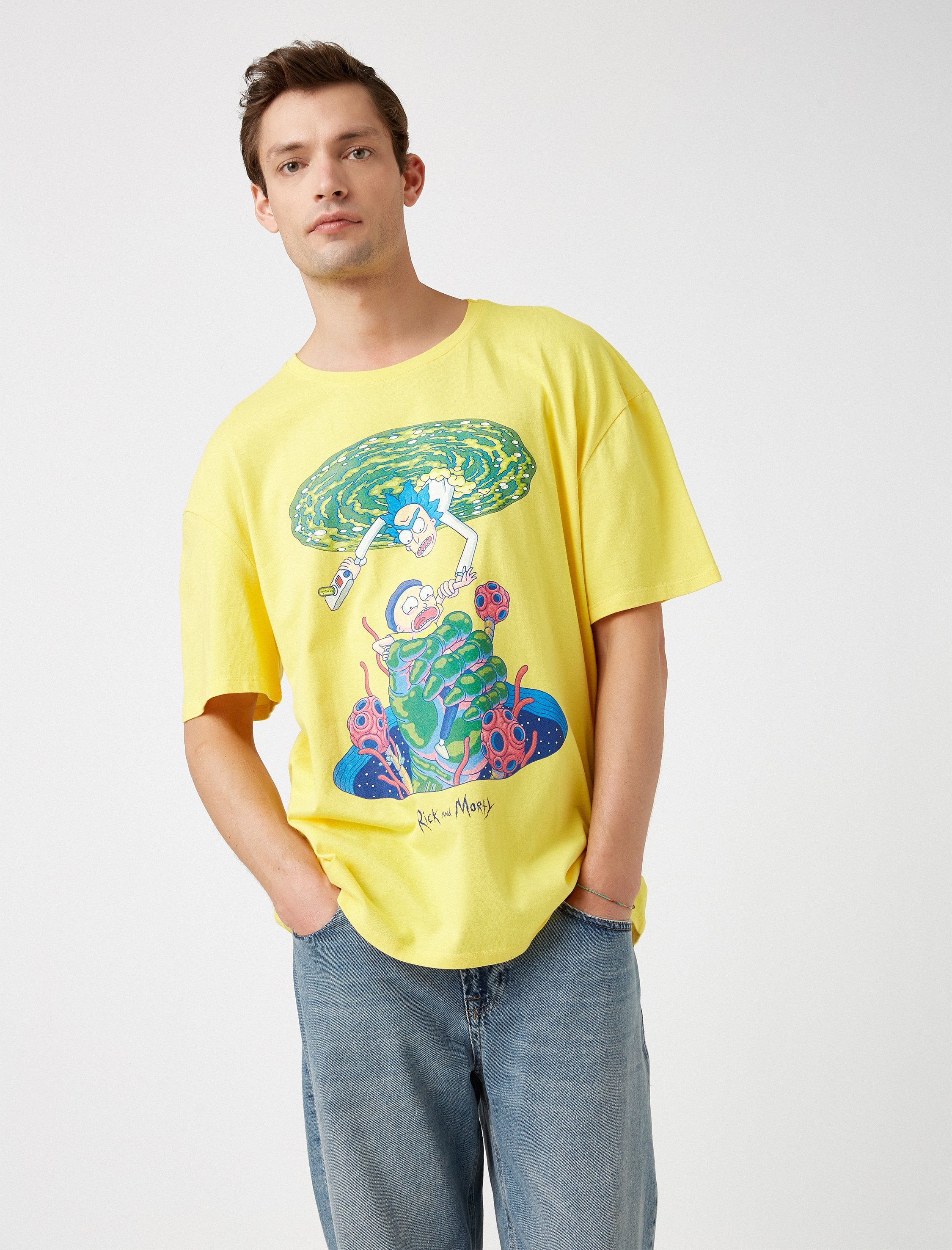 Rick and Morty Graphic Tshirt in Yellow