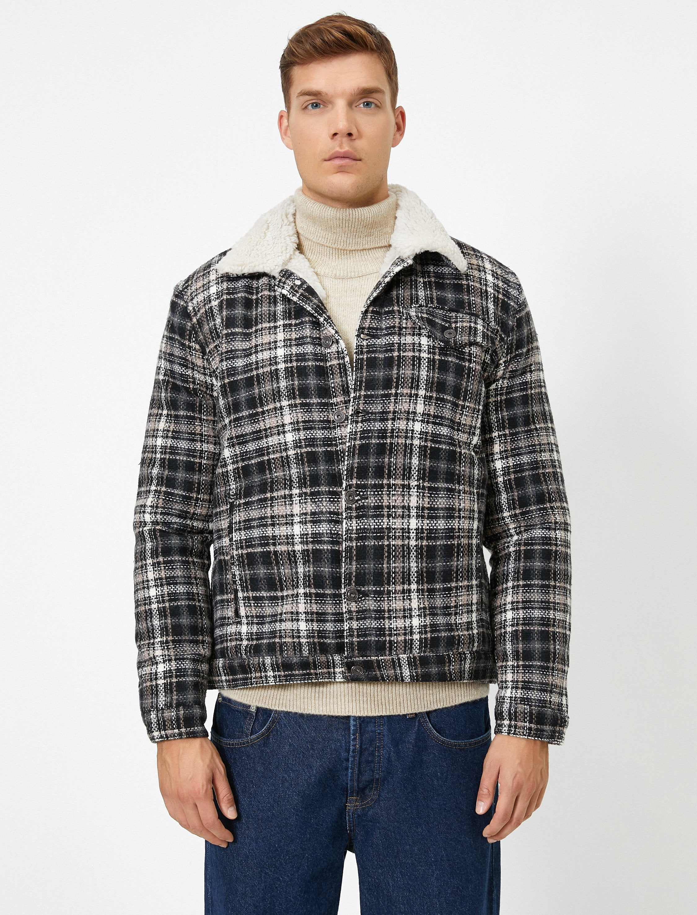 Plaid Zip-Up Jacket in Charcoal