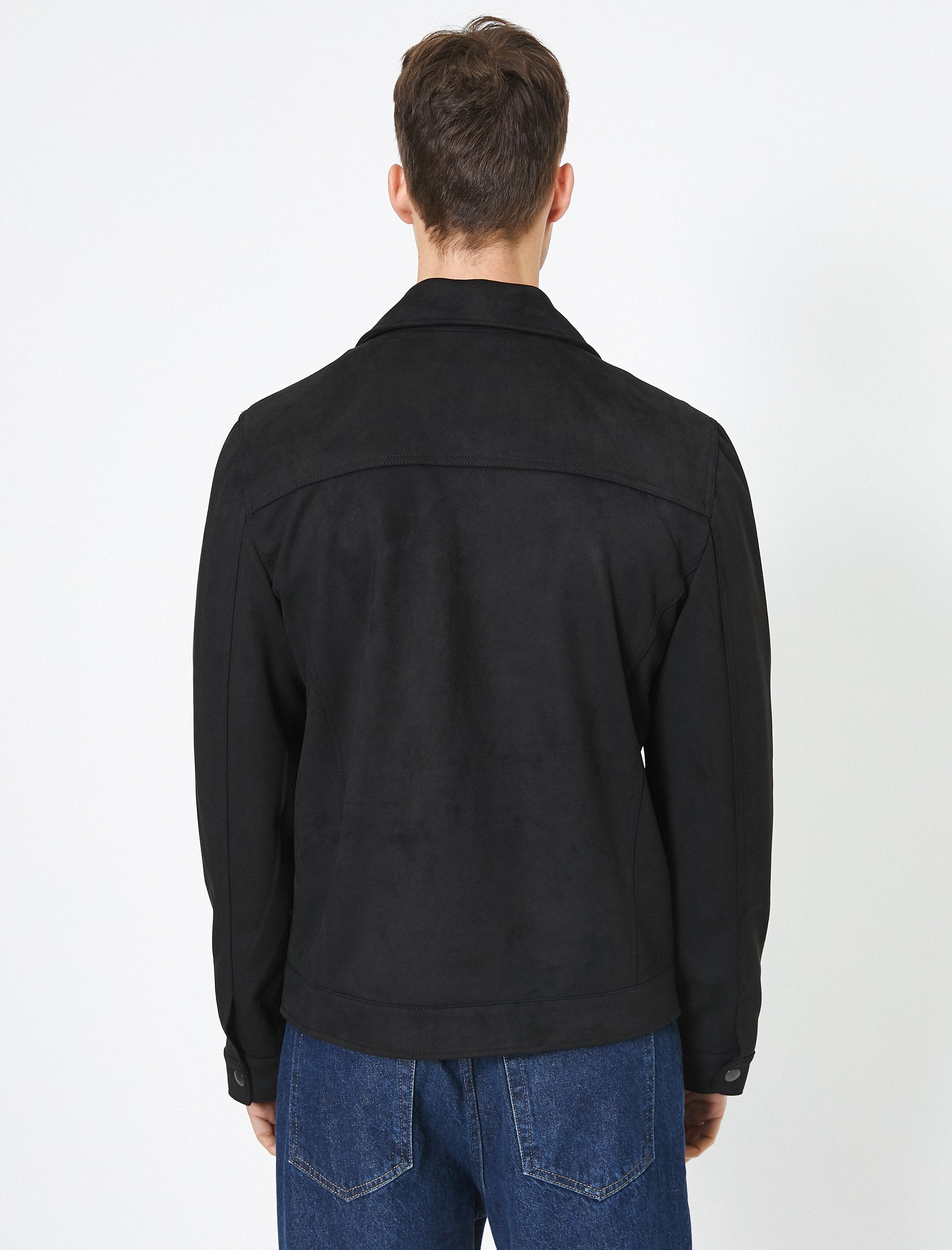 Vegan Suede Trucker Jacket in Black