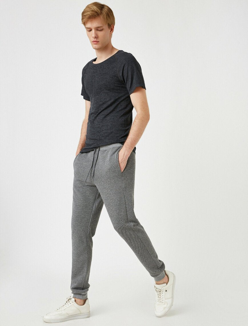 Waffle Sweat Pants in Gray
