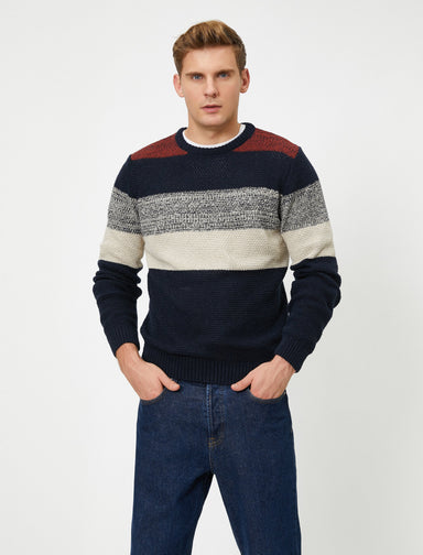 Striped Crew Neck Sweater in Navy