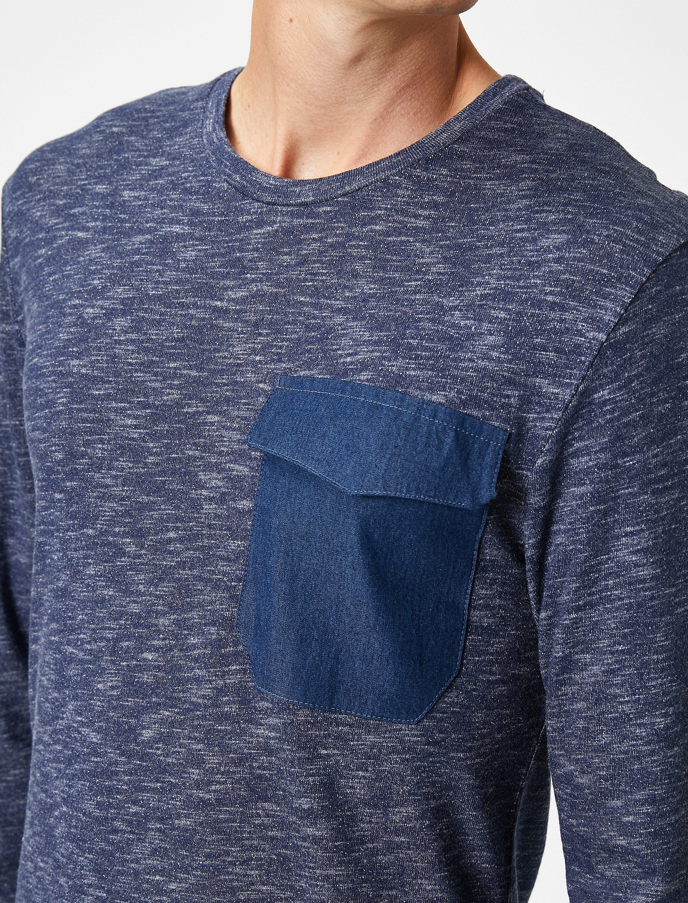 Denim Pocket Long Sleeve TShirt in Indigo
