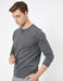 Basic Crew Neck Sweater in Charcoal