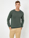 Basic Crew Neck Sweater in Dark Olve