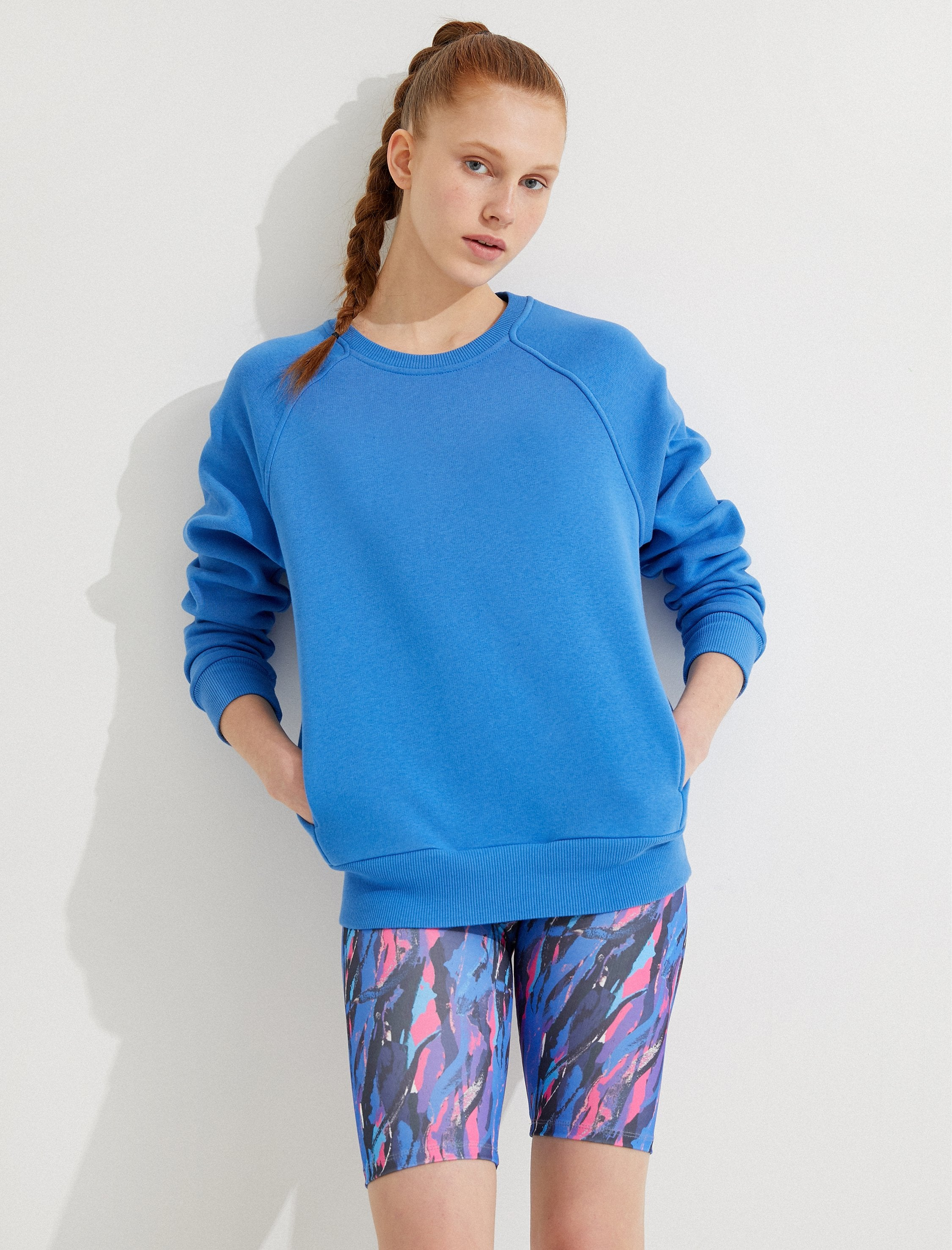 Oversize Workout Crew in Blue