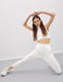 Flat Front High Waist Sweatpants in White
