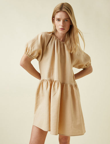Balloon-Sleeved Mini Dress in Camel