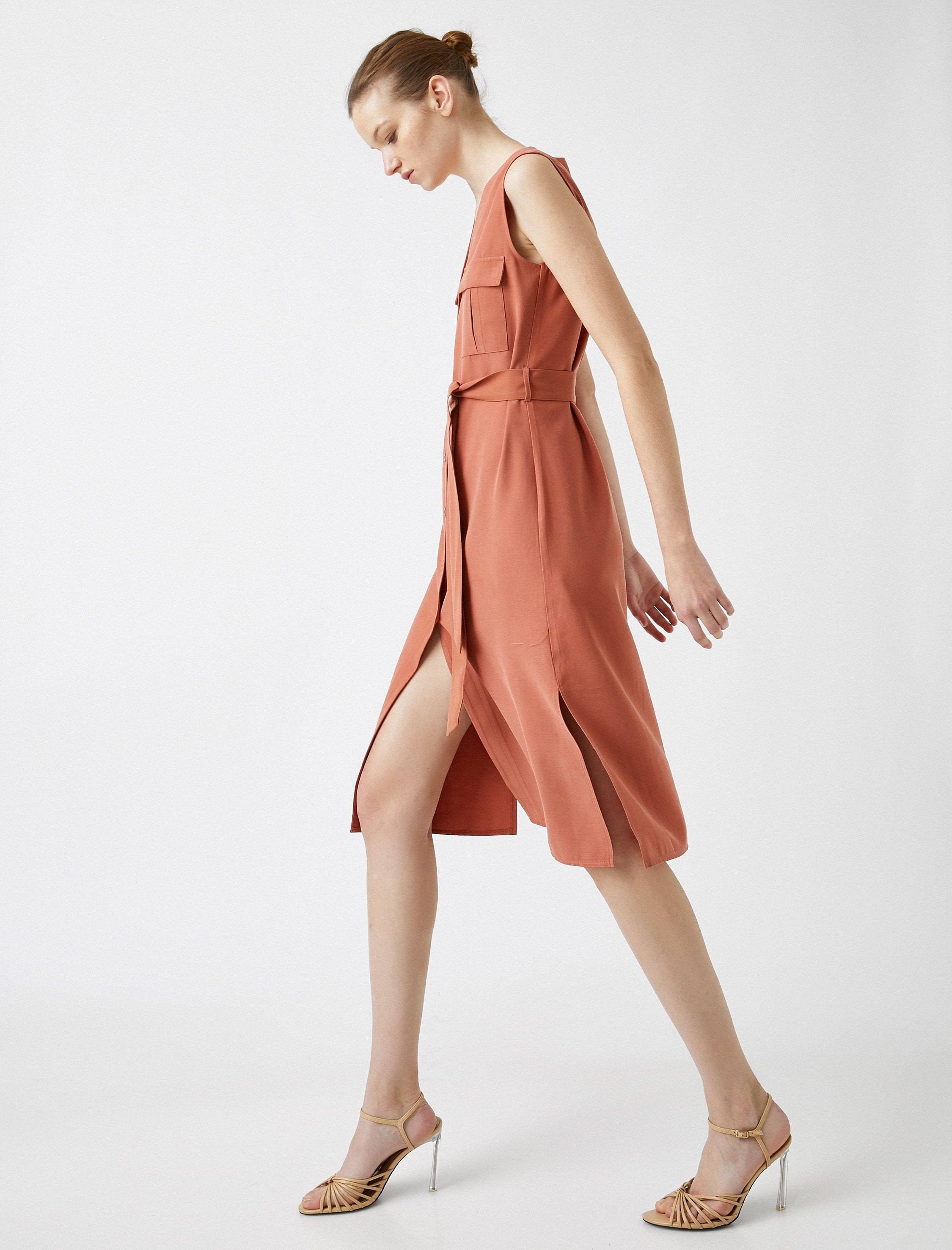 Sleeveless Button Down Dress in Clay