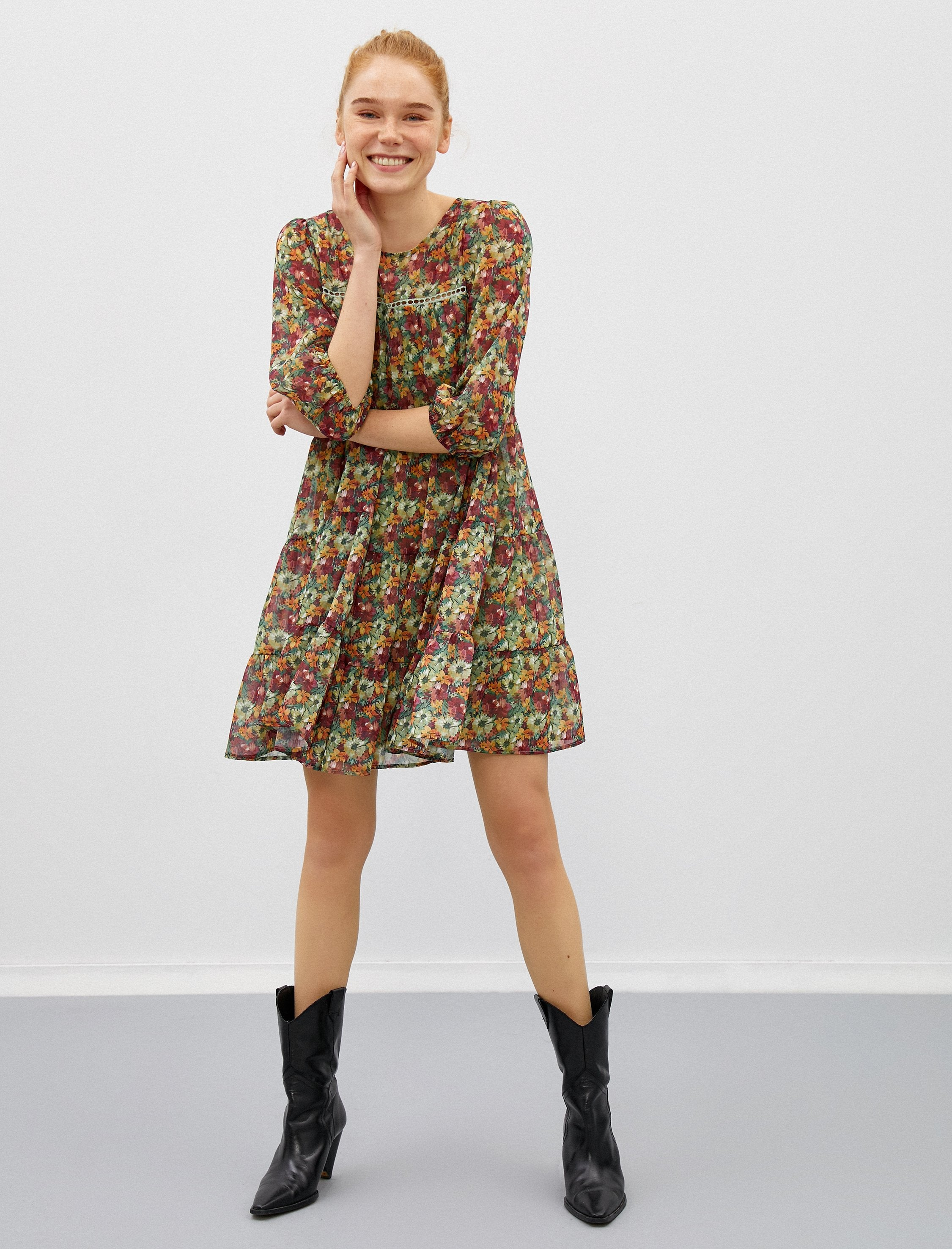 Floral-Print Chiffon Boho Dress in Green