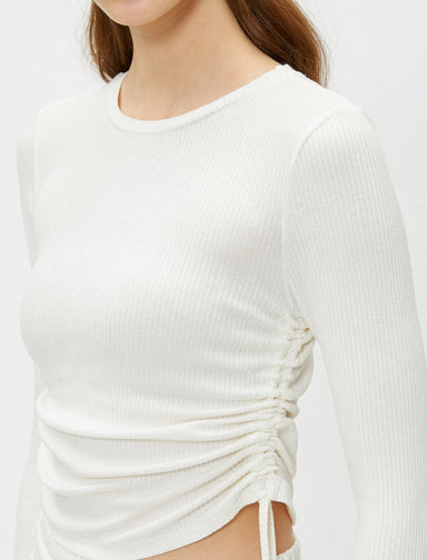 Side-Ruched Crew Neck Tee in White