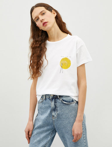 Yellow Stars Graphic Tee in White
