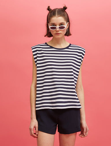Striped Padded Muscle Tshirt in Navy