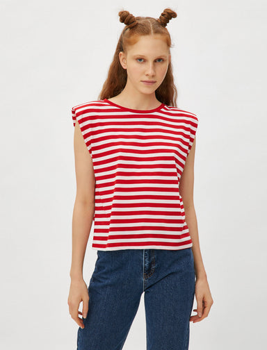 Striped Padded Muscle Tshirt in Red