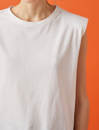Padded Muscle Tshirt in White