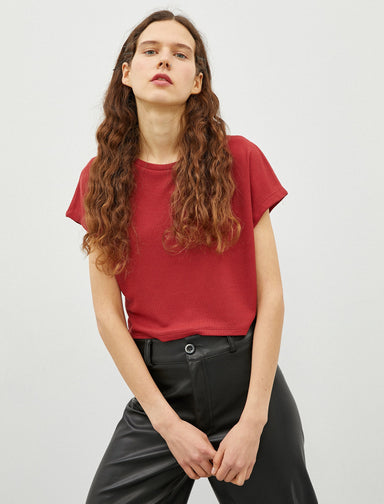 Crop Waffle Tee in Dark Red